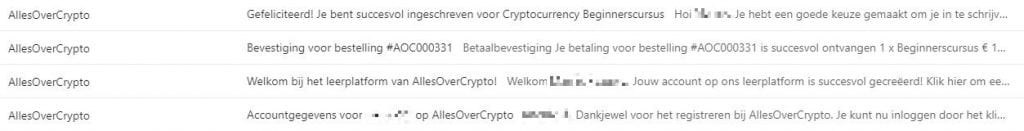 E-mails na aanmelding cryptocurrency basiscursus allesovercrypto.nl
